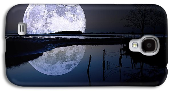 Moon Digital Galaxy S4 Cases - Moon At Night Galaxy S4 Case by Gianfranco Weiss
