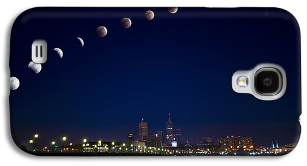Indiana Winters Galaxy S4 Cases - Moon eclipse over city Galaxy S4 Case by Alexey Stiop