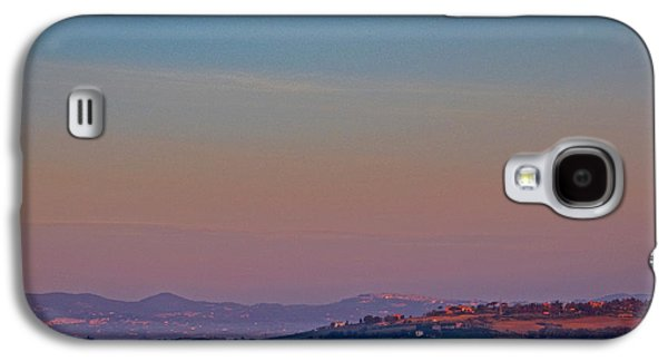 Tuscan Hills Galaxy S4 Cases - Moon Hanging Over Montepulciano, Italy Galaxy S4 Case by Tim Holt