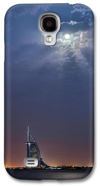 Moon Over Burj Al Arab Hotel Galaxy S4 Case by Babak Tafreshi