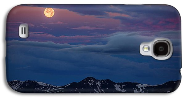 Landscape Metal Prints Galaxy S4 Cases - Moon Over Rockies Galaxy S4 Case by Darren  White