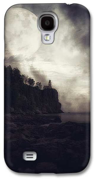 Landmarks Photographs Galaxy S4 Cases - Moon Over Spit Rock Duotone Galaxy S4 Case by Todd and candice Dailey