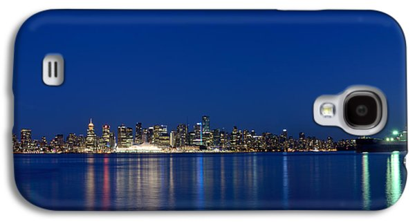 Burrard Inlet Galaxy S4 Cases - Moon Over Vancouver Skyline Galaxy S4 Case by Terry Elniski