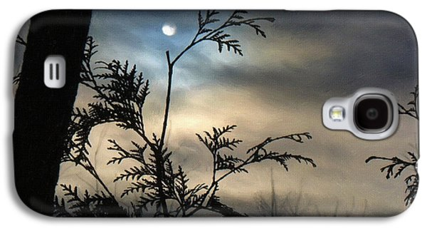 Screen Print Galaxy S4 Cases - Moon Painting Print Galaxy S4 Case by Victor Gladkiy