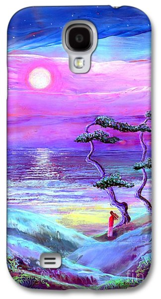 Pathway Paintings Galaxy S4 Cases - Moon Pathway Galaxy S4 Case by Jane Small