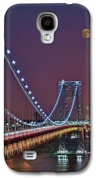 Susan Candelario Galaxy S4 Cases - Moon Rise over the George Washington Bridge Galaxy S4 Case by Susan Candelario
