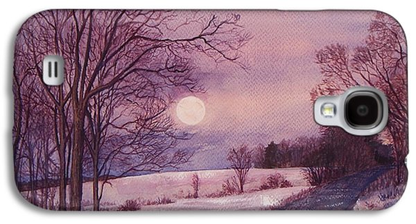 Maine Roads Paintings Galaxy S4 Cases - Moon Rising Galaxy S4 Case by Joy Nichols