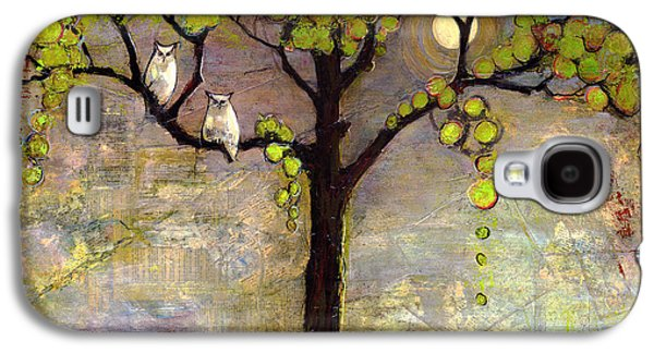 Print Mixed Media Galaxy S4 Cases - Moon River Tree Owls Art Galaxy S4 Case by Blenda Studio