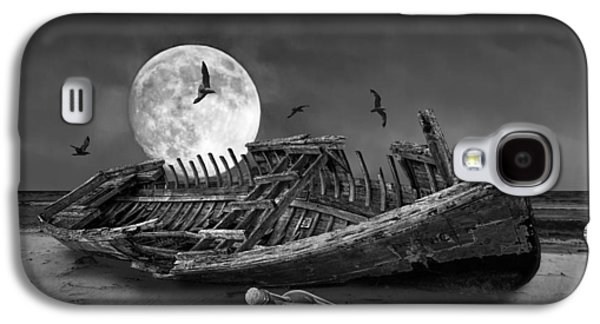 Dreamscape Galaxy S4 Cases - Moon Shipwreck Galaxy S4 Case by Randall Nyhof