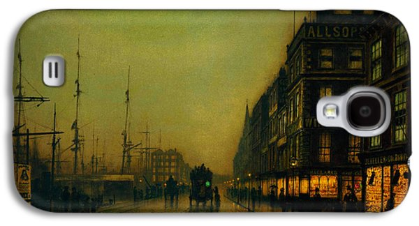 Recently Sold -  - Sunset Abstract Galaxy S4 Cases - Moonlight  Galaxy S4 Case by Atkinson Grimshaw Liverpool Quay