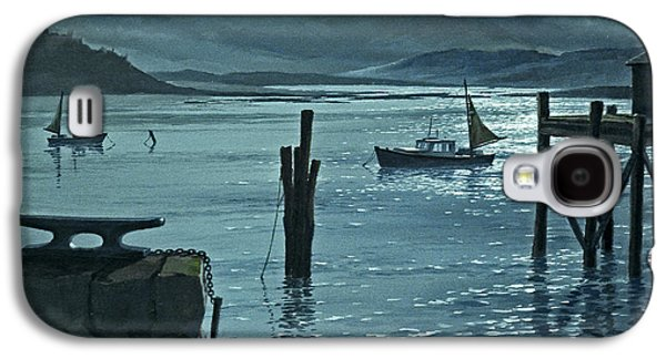 Harbor Paintings Galaxy S4 Cases - Moonlight on the Harbor Galaxy S4 Case by Paul Krapf