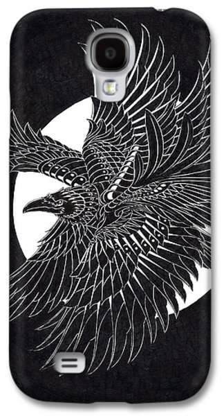 Native Drawings Galaxy S4 Cases - Moonlight Raven Galaxy S4 Case by BioWorkZ