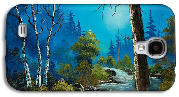 Sawtooth Mountain Paintings Galaxy S4 Cases - Moonlight Stream Galaxy S4 Case by C Steele
