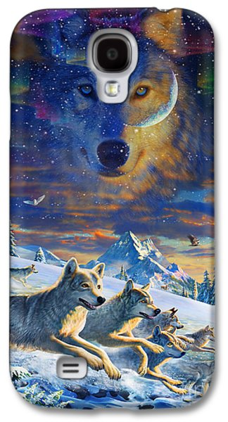 Wolves Digital Galaxy S4 Cases - Moonlight Wolfpack Variant III Galaxy S4 Case by Adrian Chesterman
