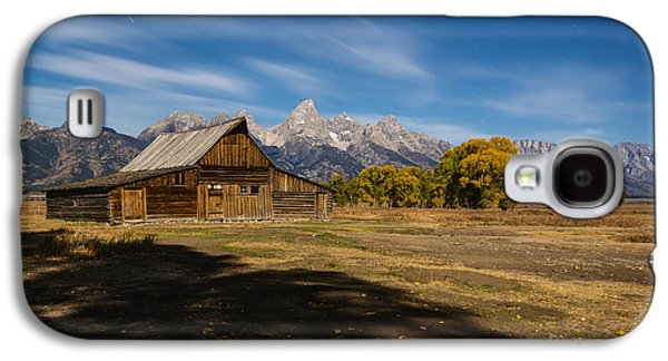 Moonlit Night Photographs Galaxy S4 Cases - Moonlit Mormon Barn at Grand Teton NP Galaxy S4 Case by Vishwanath Bhat