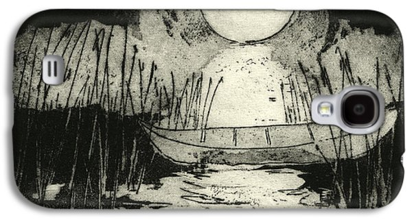 Canoe Drawings Galaxy S4 Cases - Moonlit Night - Full Moon - Reeds - Among The Reeds - Canoe - Etching - Fine Art Print - Stock Image Galaxy S4 Case by Urft Valley Art