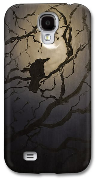 Crows Black Paintings Galaxy S4 Cases - Moonlit Perch Galaxy S4 Case by Melissa Herrin