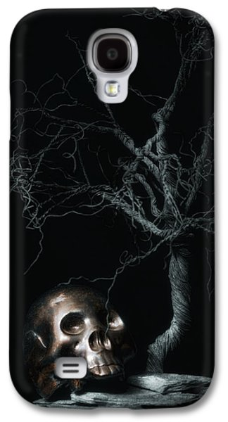Creepy Galaxy S4 Cases - Moonlit Skull and Tree Still Life Galaxy S4 Case by Tom Mc Nemar