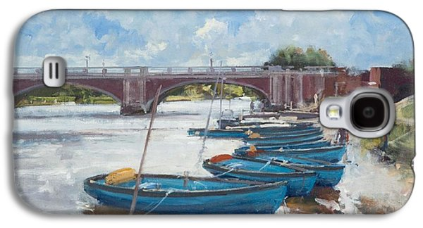 Hamptons Galaxy S4 Cases - Moorings At Hampton Court, 2011 Oil On Canvas Galaxy S4 Case by Christopher Glanville