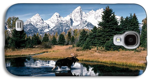 Snow Capped Galaxy S4 Cases - Moose & Beaver Pond Grand Teton Galaxy S4 Case by Panoramic Images