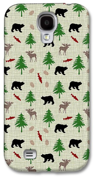 Cabins Galaxy S4 Cases - Moose and Bear Pattern Galaxy S4 Case by Christina Rollo
