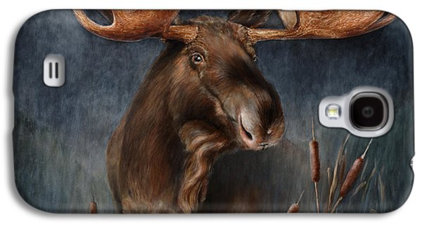 Mist Paintings Galaxy S4 Cases - Moose in the Mist Galaxy S4 Case by Rob Dreyer AFC