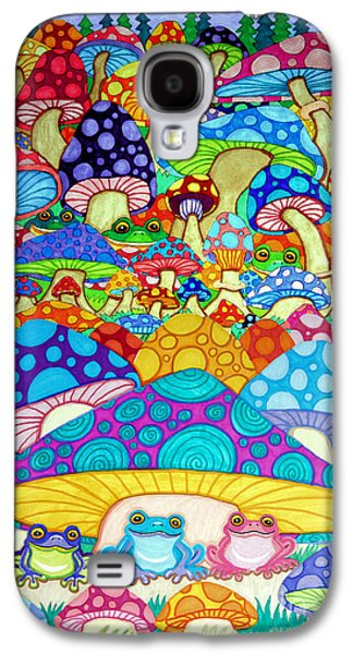 Wild Life Drawings Galaxy S4 Cases - More Frogs Toads and Magic Mushrooms Galaxy S4 Case by Nick Gustafson