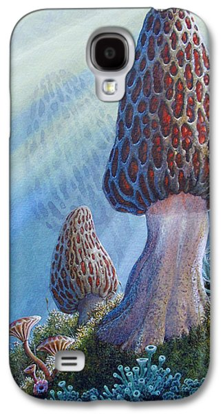 Sun Rays Paintings Galaxy S4 Cases - Morel Mushrooms Galaxy S4 Case by Mike Stinnett