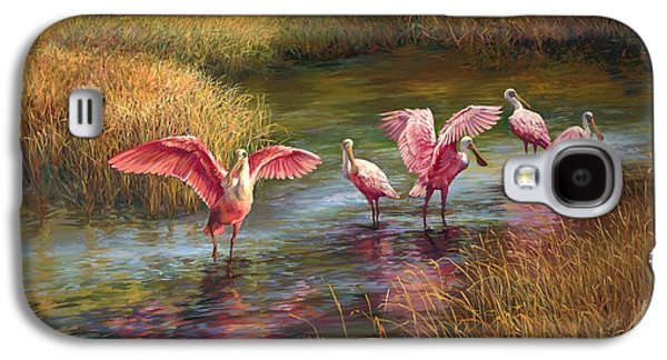 Flock Of Birds Paintings Galaxy S4 Cases - Morning Dance Galaxy S4 Case by Laurie Hein