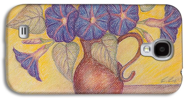 Interior Still Life Pastels Galaxy S4 Cases - Morning Glories with Yellow Background Galaxy S4 Case by Claudia Cox