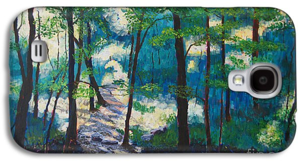 Warner Park Paintings Galaxy S4 Cases - Morning Sunshine in Park Forest Galaxy S4 Case by Arthur Witulski