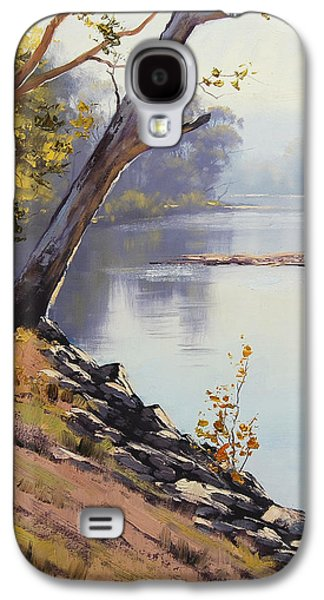 Beautiful Creek Paintings Galaxy S4 Cases - Morning Light Tumut River Galaxy S4 Case by Graham Gercken