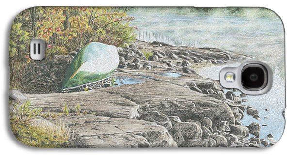 Canoe Drawings Galaxy S4 Cases - Morning Mist Galaxy S4 Case by Clare Douglas