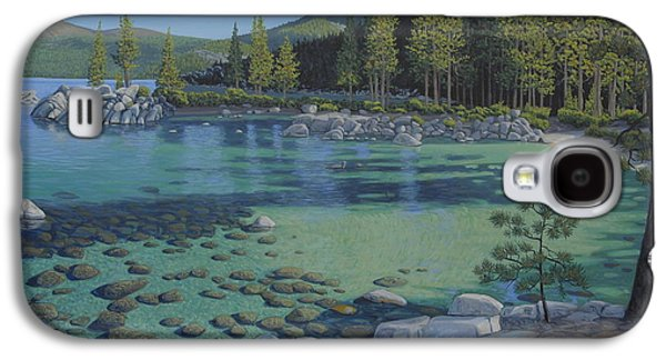 Waterscape Paintings Galaxy S4 Cases - Morning on Sand Harbor Galaxy S4 Case by James English Babcock