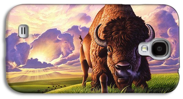 Bison Paintings Galaxy S4 Cases - Morning Thunder Galaxy S4 Case by Jerry LoFaro