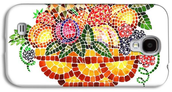 Mosaic Galaxy S4 Cases - Mosaic Fruit Vase Galaxy S4 Case by Irina Sztukowski