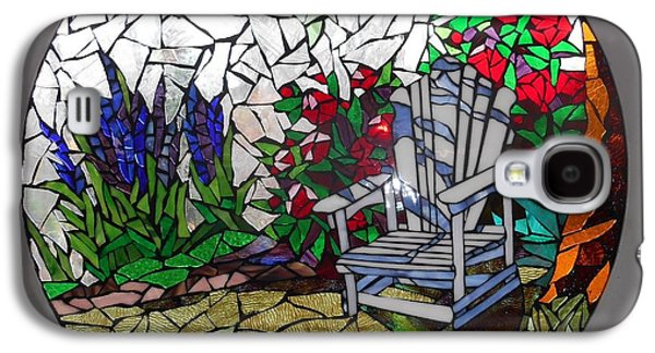 Chair Glass Art Galaxy S4 Cases - Mosaic Stained Glass - A Place To Reflect Galaxy S4 Case by Catherine Van Der Woerd