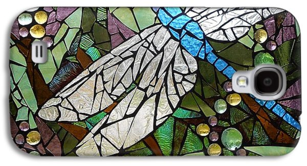 Green Glass Galaxy S4 Cases - Mosaic Stained Glass - Blue Dragonfly 50/50 Galaxy S4 Case by Catherine Van Der Woerd