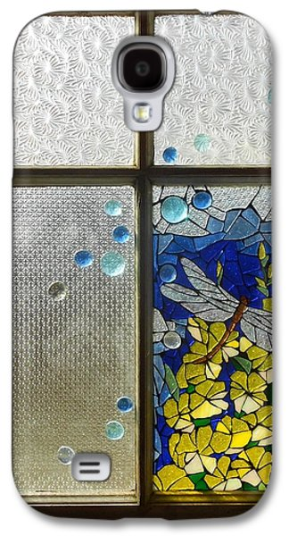 Old Glass Galaxy S4 Cases - Mosaic Stained Glass - Dragonfly In The Window Galaxy S4 Case by Catherine Van Der Woerd