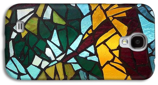 Forest Glass Art Galaxy S4 Cases - Mosaic Stained Glass - First tree Galaxy S4 Case by Catherine Van Der Woerd