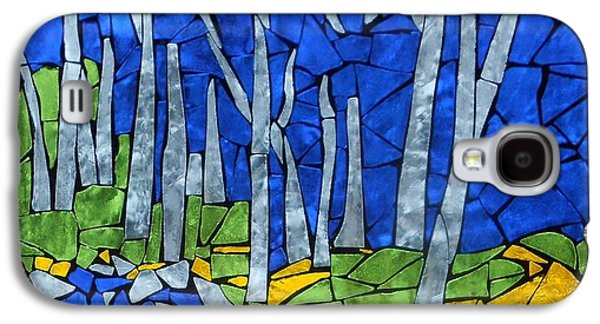 Forest Glass Art Galaxy S4 Cases - Mosaic Stained Glass - My Woods Galaxy S4 Case by Catherine Van Der Woerd