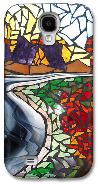Forest Glass Art Galaxy S4 Cases - Mosaic Stained Glass - Road to Bear River Galaxy S4 Case by Catherine Van Der Woerd