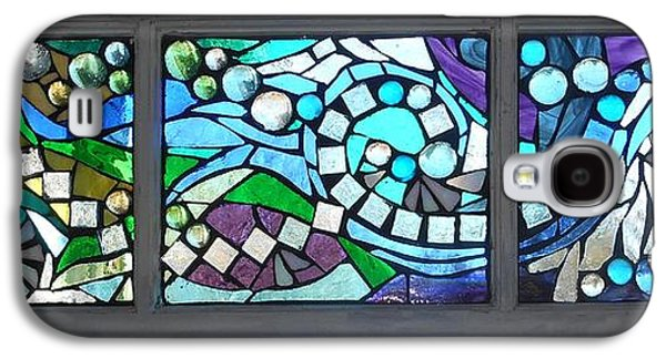 River Glass Galaxy S4 Cases - Mosaic Stained Glass - Water Abstract Galaxy S4 Case by Catherine Van Der Woerd