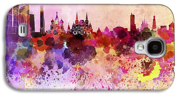 Moscow Skyline In Watercolor Background Galaxy S4 Case by Pablo Romero