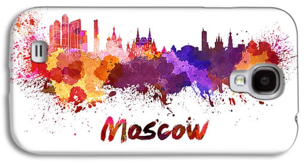 Moscow Skyline In Watercolor Galaxy S4 Case by Pablo Romero
