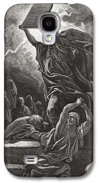 Best Sellers -  - Religious Drawings Galaxy S4 Cases - Moses Breaking the Tablets of the Law Galaxy S4 Case by Gustave Dore