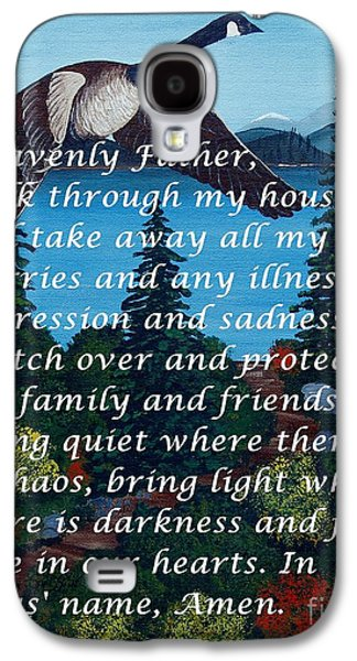 Interior Scene Mixed Media Galaxy S4 Cases - Most Powerful Prayer with Goose Flying and Autumn Scene Galaxy S4 Case by Barbara Griffin