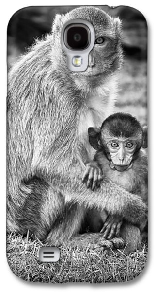 Nurture Galaxy S4 Cases - Mother and Baby Monkey Black and White Galaxy S4 Case by Adam Romanowicz