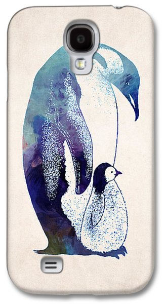 Adorable Digital Art Galaxy S4 Cases - Mother and Baby Penguin Galaxy S4 Case by World Art Prints And Designs