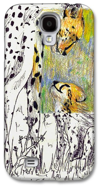 Cheetah Drawings Galaxy S4 Cases - Mother and Child Cheetah Galaxy S4 Case by Ashley Bauer